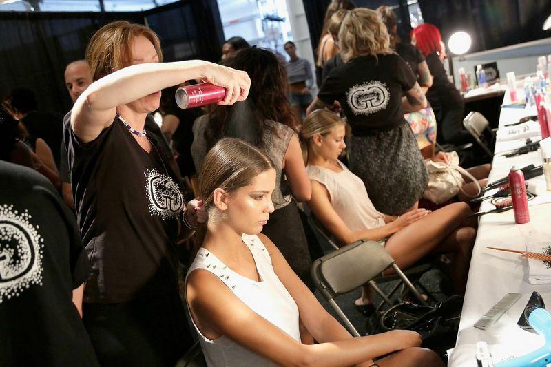 behing the scenes, fashion show, swim week hair